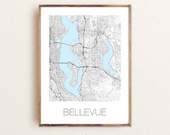 BELLEVUE Map Poster Print Art, Bellevue WA city map, Custom Graduation Map Gift, Modern City Poster, Wall Art for Home Decor