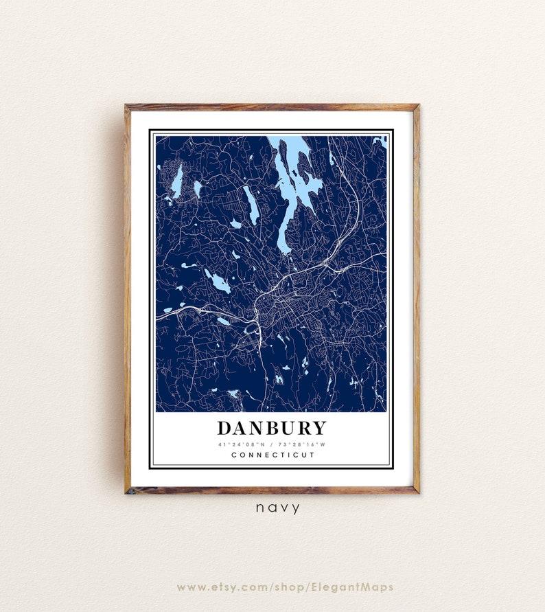 Custom city map Danbury print Danbury art Danbury CT map Danbury Connecticut map Danbury map Danbury city map Danbury poster