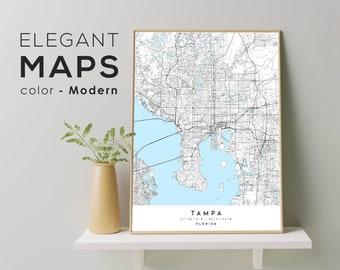 TAMPA FL Map Poster Print Art, Tampa Florida city map, Custom Graduation Map Gift, Modern City Poster, Wall Art Home Decor
