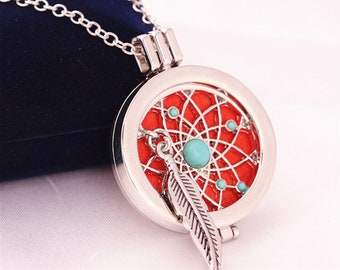 Silver Aromatherapy Necklace with Turquoise Pendant,Essential Oil Diffuser,Boho Stainless Steel Locket,Dream Catcher Jewelry,Valentine/'s Day Gift