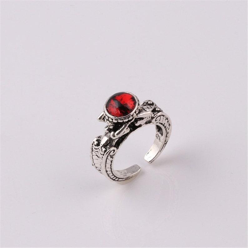 Gemstone evil ring sterling silver,red yellow blue purple eye ring,Evil Eye,fashion vintage dragon ring,statement ring,gift idea for men