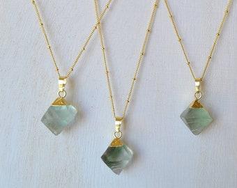 Green Fluorite Crystal Necklace, Sacred Geometry Octahedron Shaped Pendant, Rough Gemstone Jewelry