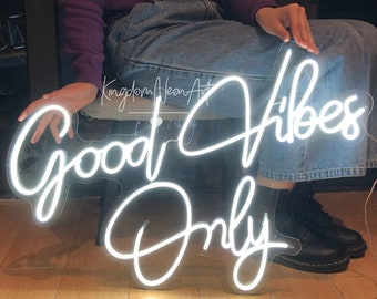 Good Vibes Only Neon Sign,Custom Led Sign for Bedroom,Neon Bar Sign,Home Room Wall Party Decor,Flex Neon Light Sign,Neon Wall Art Decoration