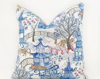 Cover Only - Leopard Party Chinoiserie Blue and White