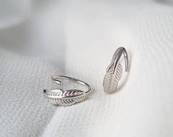 Sterling Silver Feather Huggies, Tiny Leaf Hoop Earrings, Small Circle Hoops, Real Solid 925, Minimalist Round Hoops, Delicate Fine Jewelry