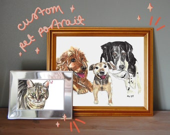 Places or Objects A4 or A5 Personalised Watercolour Paintings of Vehicles Pets