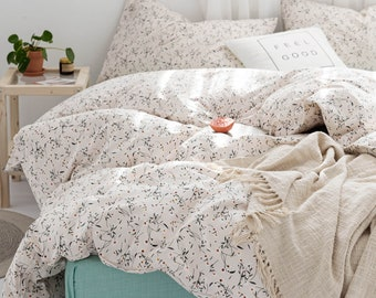 Blue Floral Duvet Cover Queen Twin Double Bedding Set Kids Teen Adult Single Duvet Covers Set Graceful Beddings Quilt Kits Comforter Sets