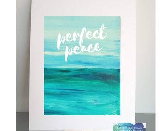 Perfect Peace ocean art print | Seascape, beach, coastal art painting | Motivational saying print