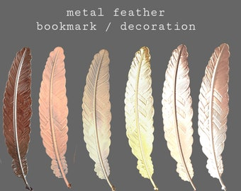 Metal feather bookmark | Metal bookmark | Book lover gift | Wedding Anniversary gift | Metal vintage feather decor ornament