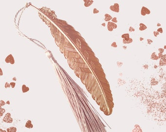 Rose gold Metal feather bookmark | Metal bookmark | Book lover gift | Metal vintage feather ornament