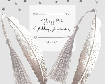 Set of 2 silver bookmarks 25th Silver Wedding Anniversary Gift for a couple