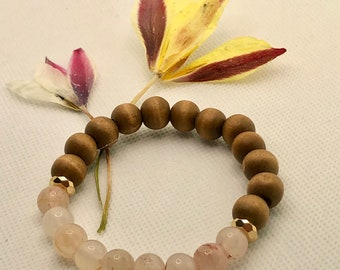EcoOrganic Jewelry Long chain of rose quartz and wooden beads Real Natural Gem-Handmade-Fair Trade