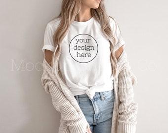Boho Shirt Mockup| Bella Canvas 3001 Mockup| White T-shirt Mockup| Hanging Shirt Mockup| Cute Shirt Mockups| Model Mockup Shirt
