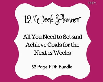 12 Weeks Goal Planner, 12 Week Printable Planner, 12 Week Year Planner, Contentment Questing Planner, Goal Planner, Goal Planner PDF