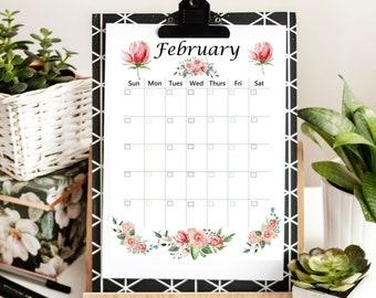 Floral Print Undated Printable Calendars