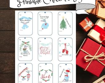 Printable Christmas Gift Tags, Unique Christmas Gift Tag