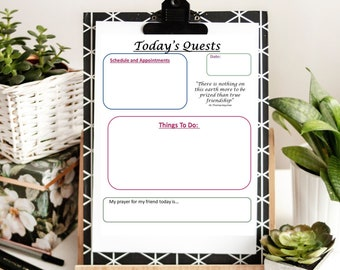Printable To-Do List with Inspirational Quotes and Reflection Questions, To Do List Planner Page,  Productivity Planner, To Do Printable