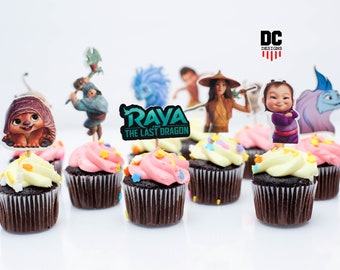 Raya & the last dragon 12 set cupcake topper/raya the last dragon/raya/cake topper/set of 12/sisu/little noi/tuk tuk/boun/party supplies/