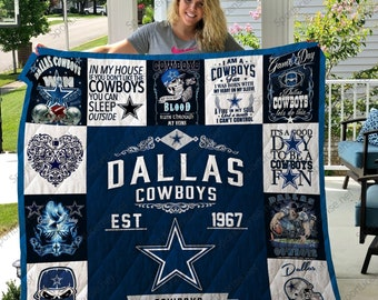 Details about  /Dallas Cowboys Quilt Blanket Football Fan Gift Funny Bedding Decor