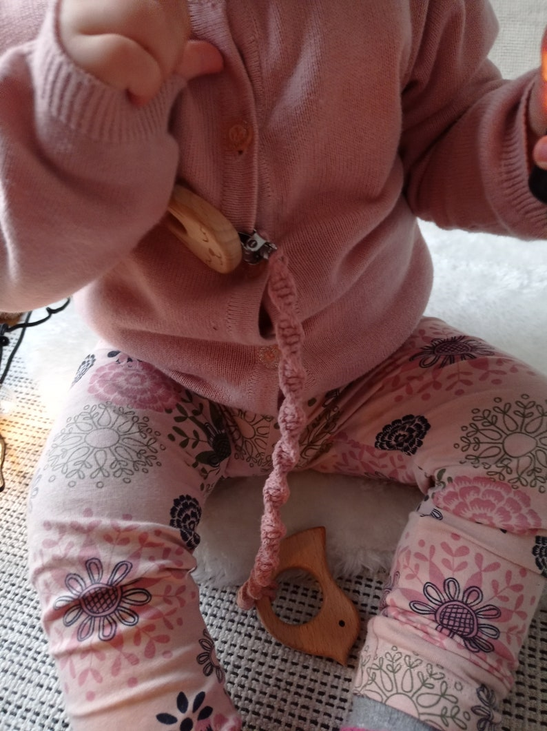 Layette For Child Macrame Pacifier Holder With Wooden Rabbit Clip