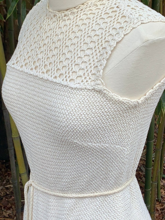 Vintage Dalton Cream Knit Sleeveless Dress