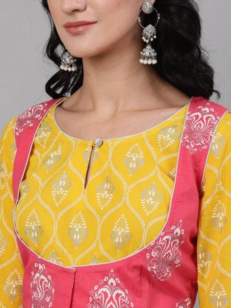 Ready to wear Fully stitched Indian Women Pink /& Yellow Khari Printed cotton festive party Lehnga Choli With Dupatta free shipping worldwide