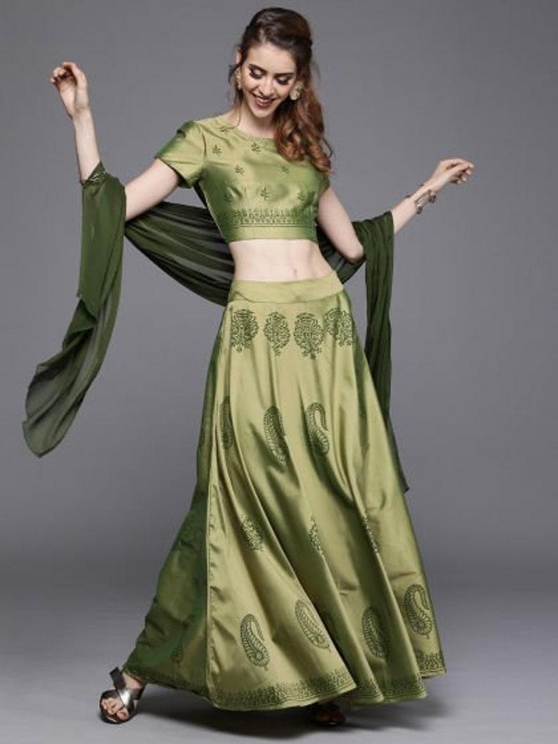 Fully stitched Indian Women Pink /& green silk blend printed partywear festive  lehnga choli dupatta ready to wear free  shipping worldwide