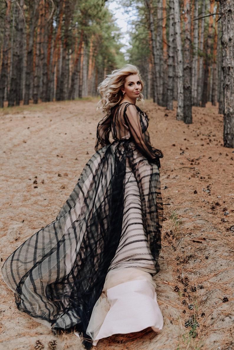 Kristina Black Wedding Dress with Train Black Wedding Gown image 0