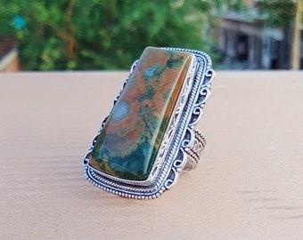 Ocean jasper gemstone ring Statement Ring 925 Sterling Silver Ring Gifts for her Birthstone Jewelry Handmade Ring Boho Rings #B258