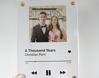 2 Traacks Mini (Transparent Song Plaque Acrylic Clear Personalized Freestanding Barcode Customized Sound Couples Gift)