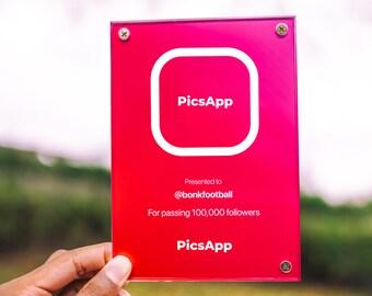 social media award • tiktok instagram creator plaque • custom followers subscribers award
