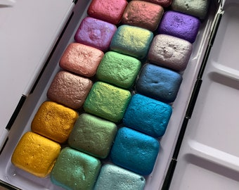 Handmade Watercolor Paint Set | Mica Metallic Watercolors - Make Your Own Palette (MYOP) Set - Quarter Pans
