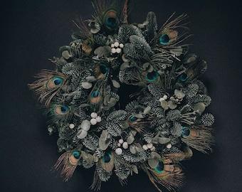 Peacock feather Wreath, Christmas Door Wreath, wreath, Christmas Wreath, Wreath, Door Wreath. Door Hangers,