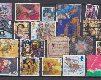 UK XMAS stamps, 20 different, Santa, Fairy, Religious (used) - England 20 obliterated RELIGIOUS NOEL stamps, Santa Claus etc...