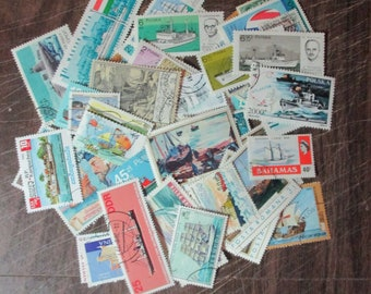 SHIPS ON STAMPS all different mostly used stamps, many countries, choose the size you want, made to order, first quality