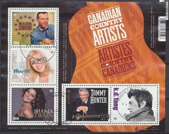 """CANADA cancelled/used Souvenir Sheet """"Canadian Country Artists/Singers"""" lovely colors and graphic design, guitar"""