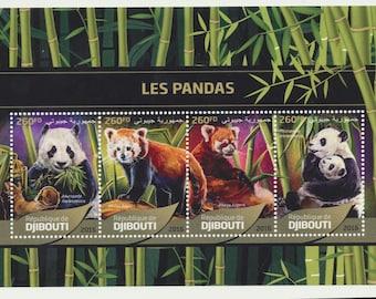 DJIBOUTI mint Souvenir sheet, lovely Pandas, different breeds
