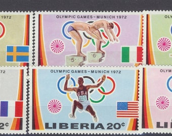 OLYMPIC MUNICH 1972 set of mint stamps from the country of Liberia, large colorful, sports