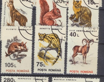 Romania ANIMALS complete set of used stamps showing various kind of animals, squirrel,fox,otter,hare others colorful!