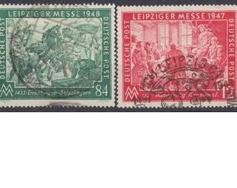 GERMANY #580-3 complete set used Scott Value 8.15 -  Leipzig 1947