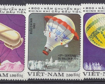 VIETNAM nice Balloons on 5 large stamps used, vibrant colors