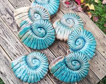 turquoise ceramic fossil