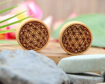 2G WHOLESALE AVAILABLE Vermeil Rose Gold Ear Plugs Gauges Sizes from 6 mm Flower of Life 1 Inch To 26 mm