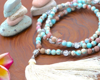 Blue Snakeskin Agate /& Rhodonite Mala with Buddha Head Kundalini Activation and Heart Chakra Energy