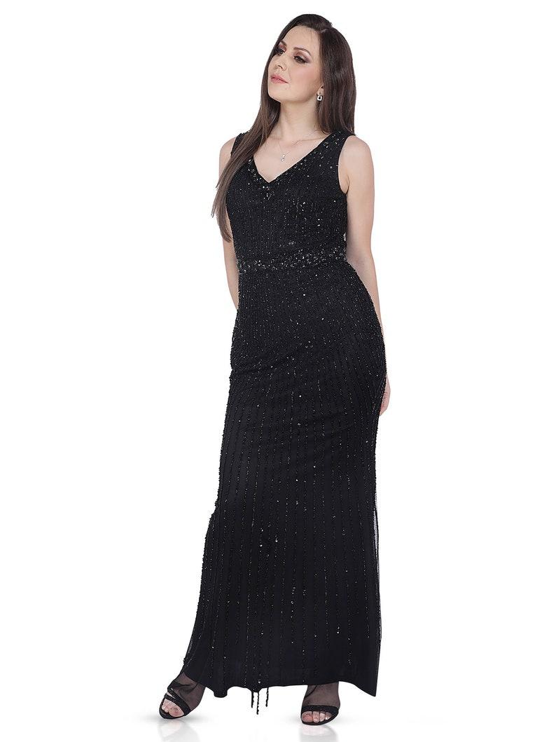 hand beaded dress,Evening gowns Black dress, Bridesmaid dress Prom dress Mother of Bride Dress,Party dress Wedding party dress