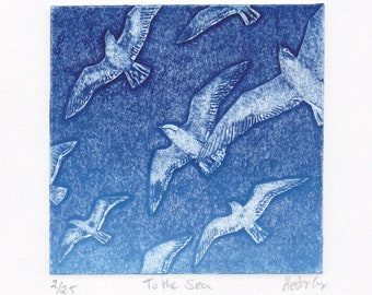 To the Sea, an original limited edition collagraph print