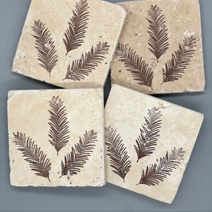 Rustic Winter Forest Woodland Trees Handcrafted Tumbled Limestone Coasters: Cabin Mountain Home Nature decor Lake House Ski Lodge Gift