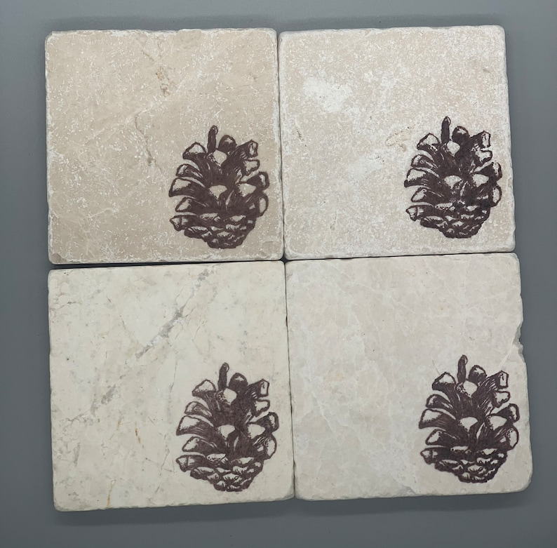 Ski Lodge Tumbled Marble Winter Pine Cone Coasters: Simple Rustic Elegance Gift Him Her Cabin Decor Mountain Home Lake House Woodland