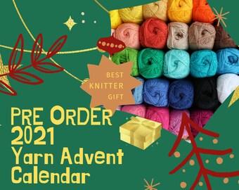 Yarn advent calendar 2021 Сhristmas in july Mystery yarn box Christmas Eve Box