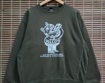 VOLCOM SKATEBOARD Sweatshirts Skater Vintage Volcom Skateboarding Usa Streetwear Jumper Pullover Boardwear Skater Sweaters XL fit S mens